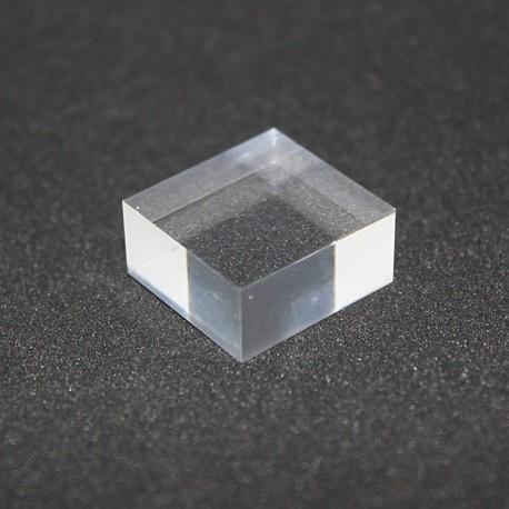 Socle Plexis Cristal brut 20x20x10mm présentoir pour vitrines