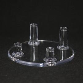 lot 12 pièces : Support 4 pieds diamètre 70mm plastique pour mineraux