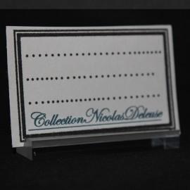 Titular de la tarjeta de cristal acrílico calidad 50x15x6mm