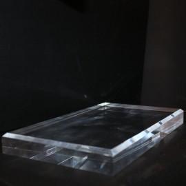 Socle acrylique 150x300x30mm angles biseautés supports pour minéraux