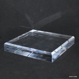 Socle acrylique 120x120x20mm angles biseautés supports pour minéraux