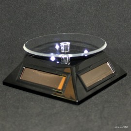 Rotating pedestals triangular solar energy, black, with white LED light