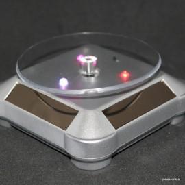 Socle tournant à énergie solaires base ronde, gris avec lumière LED multicolor