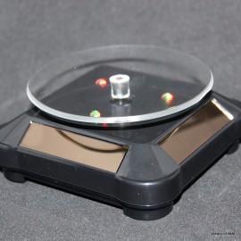 Socle tournant à énergie solaires base ronde, noir avec lumière LED multicolor