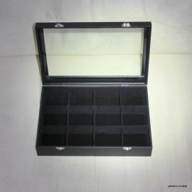 Box glass box: 350x240x75mm, black, 12 rooms :