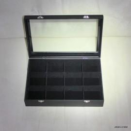 Boîte coffret vitré : 350x240x45mm, noire, 12 cases :