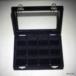Boîte coffret vitré : 203x157x48mm, noire, 12 cases :