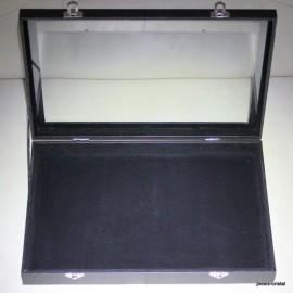 Boîte coffret vitré : 350x240x45mm, noire, vide