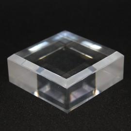 Lotto 10 basi bisellate acrilico + 1 espositore libero da 50x50x20mm