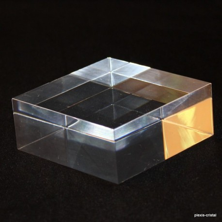 Lot 10 Plexis Cristal bases + 1 free 100x100x30mm acrylic supports