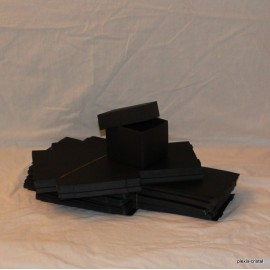 Lot 25 black cardboard boxes Modular with top : 90x130x80mm