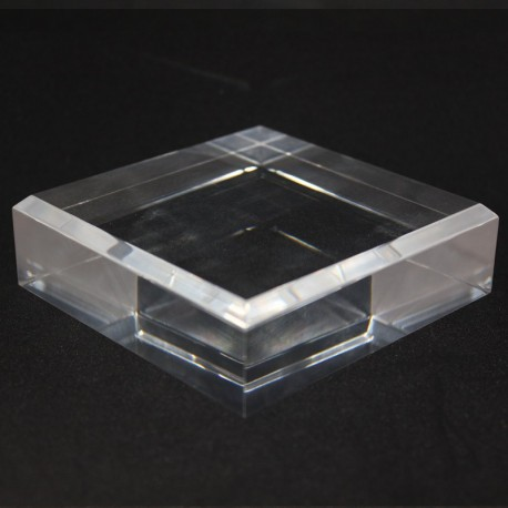 Acrylic base 100x100x30mm bevelled angles media for minerals