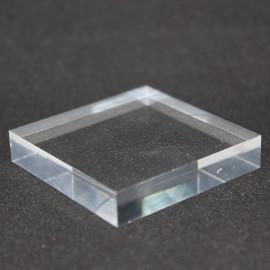 Socle présentoir 60x60x10mm acrylique brut supports pour minéraux