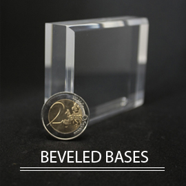 acrylic stands and displays for beveled mineral collection