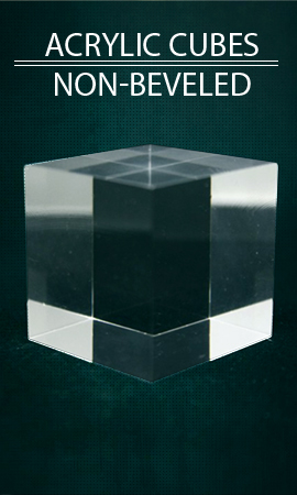 Display case showcase Plexis Cristal cube non beveled, acrylic mineral support, plastic bases