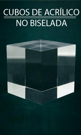 Expositor vitrina Plexis Cristal cubo no biselado, soporte mineral acrílico, bases plásticas