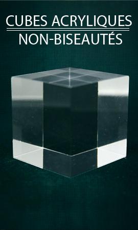 Présentoir vitrine Plexis Cristal cube non biseauté, support minéraux acrylique, socles plastique